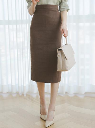 腰头 基本 高腰 亚麻 长款 裙子
