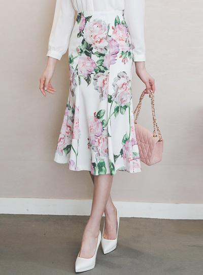 玫瑰图案 开叉 美人鱼 裙子