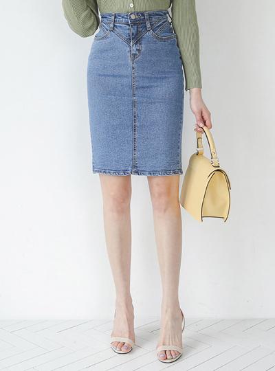 修身 缝线 H字型 牛仔裙