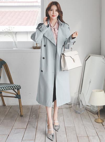 古典 扣带 棉 双 双排扣雨衣