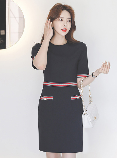 珍珠扣 配色 绷带 弹力 连衣裙