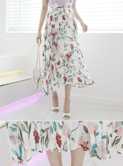 百合 花纹 彩绘 褶边 裙子