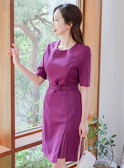 紫红百折insert连衣裙