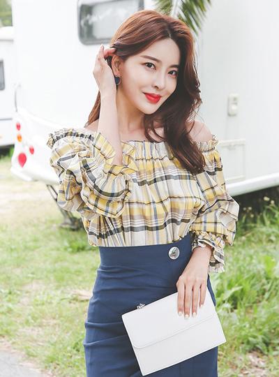 夏天格子刺绣褶饰罩衫