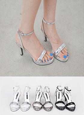 金属压花皮条/束带跟凉鞋