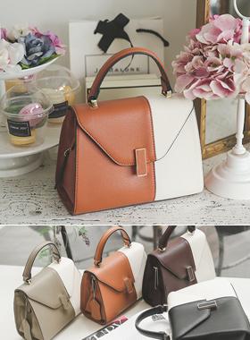 棕褐色配色小手提包