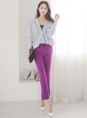 超紫色鞋形裤宽松长裤