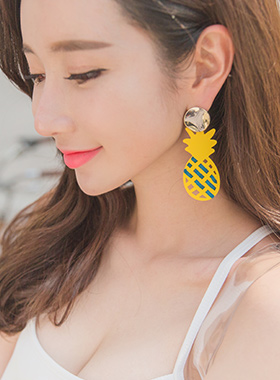 新鲜菠萝大胆的耳环