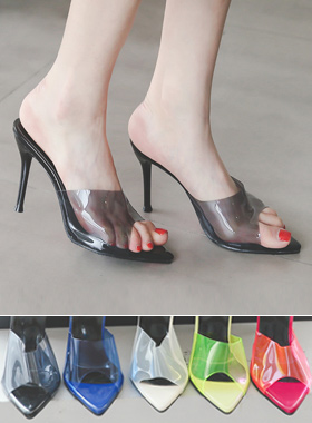 柔软透明骡子拖鞋鞋跟