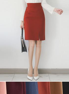 针褶侧缝H线裙子