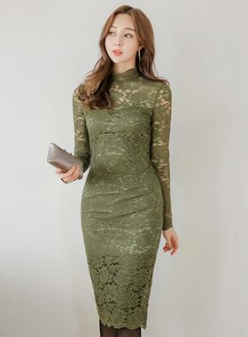 那蕾丝范高领蕾丝连衣裙