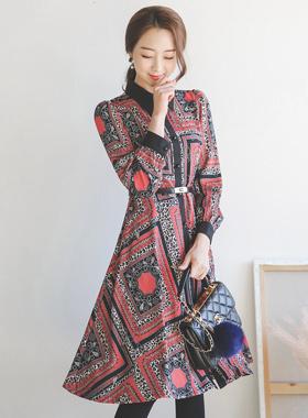 仿古图像腰带波浪组/喇叭裙衬衫连衣裙