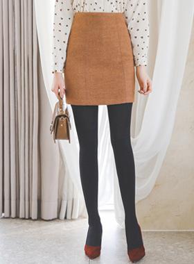 缝线羊毛迷你裙裙