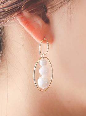 椭圆形五分层耳环