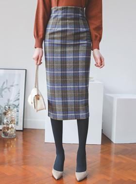 Freddy格子呢格子羊毛Midi裙子