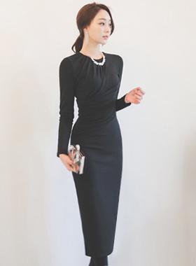 Glam Drape Shirring长连衣裙