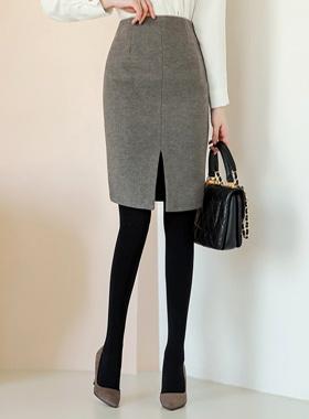 冬季斜纹开叉羊毛裙