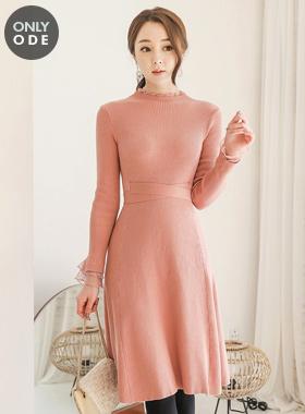 蕾丝 花边 双重 针织连衣裙