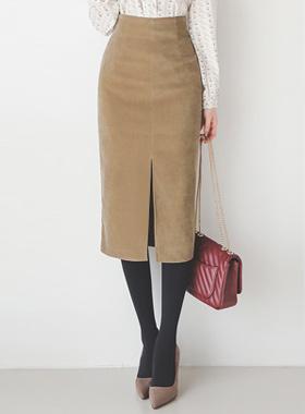 绒面革触摸灯芯绒裂缝裙子