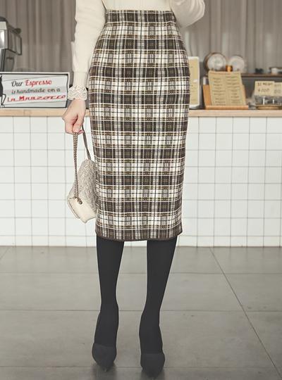 方格布方格图案 里面松紧带 针织 裙子