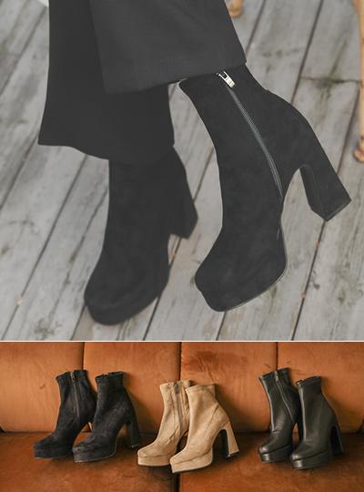 独特 前跟 厚底鞋 脚踝 靴子