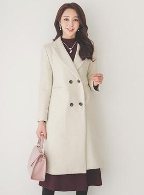 复古/古典 修身 双 羊毛织 长款大衣