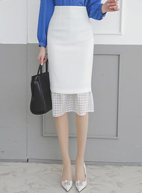 Coco格子花纹高腰中长款裙