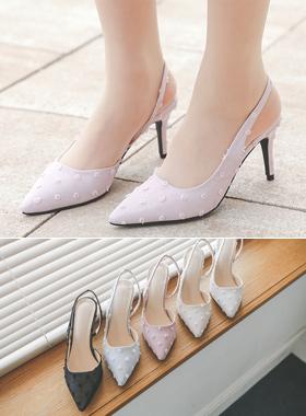樱花爆米花样子圆点露脚后跟鞋高跟鞋
