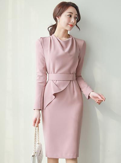 优雅 高领 荷叶边 腰带 连衣裙