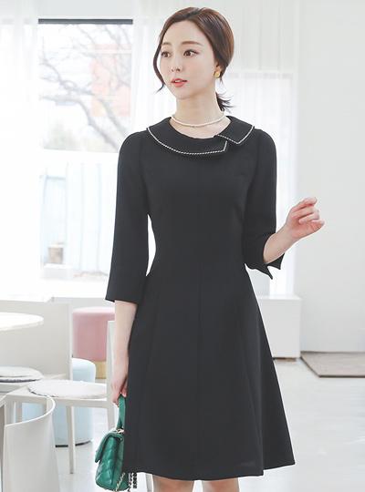 缝线 缂丝 平领 喇叭 连衣裙