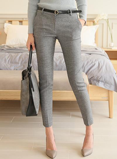 亚麻斜纹软呢修身宽松长裤