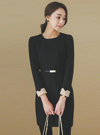 棉黑色连衣裙
