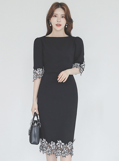 基本花色 花 蕾丝花边 弹力 连衣裙