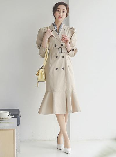 泡泡袖 棉 风衣 连衣裙