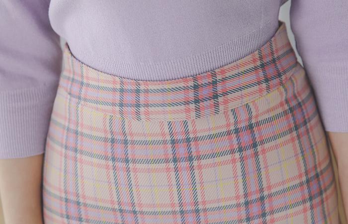 色彩艳丽 格伦格子呢 腰头 长款 裙子