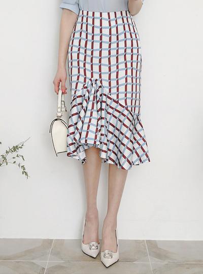 独特 长方格 褶裥 喇叭 裙子