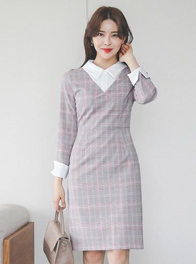 长方格 格子 配色领子 连衣裙