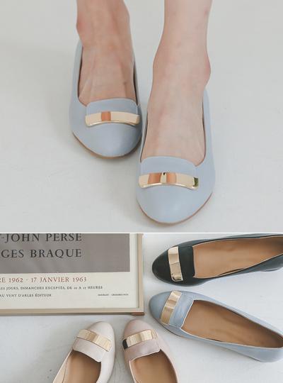 金条装饰 方形 女式浅口便鞋