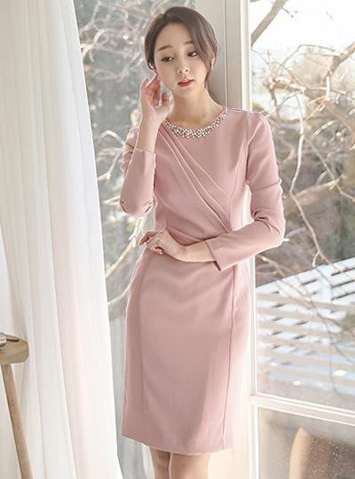 LaBelle珍珠珠剪切连衣裙