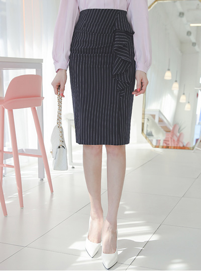 细条纹 侧纽 荷叶 褶皱 裙子
