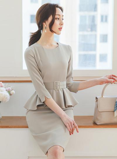 正装 方形 束带 荷叶边 连衣裙