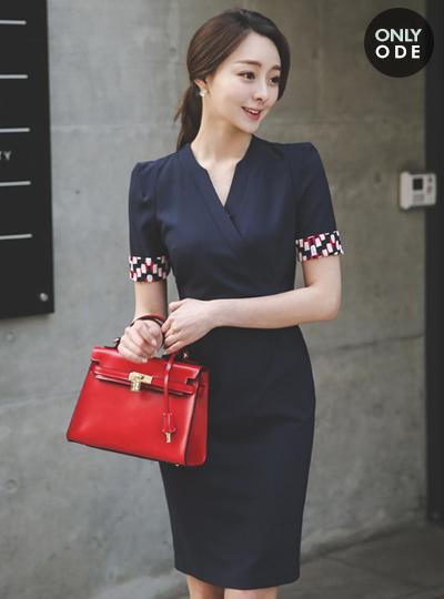 现代配色柔顺租赁连衣裙(短袖)