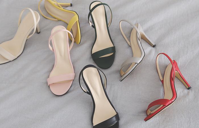 夏天皮条/束带颜色高跟凉鞋