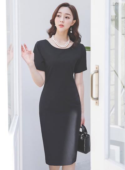 简单 基本 圆领 弹力 连衣裙