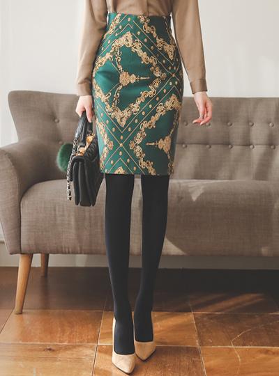 沙特尔金色图案弹力米迪裙