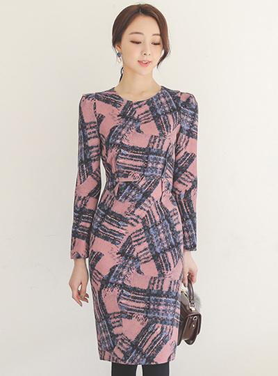 羊毛弹力涂料格子细褶 连衣裙