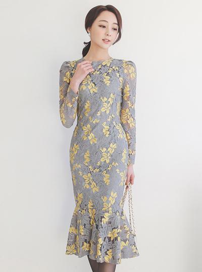 枫叶蕾丝美人鱼长款 连衣裙