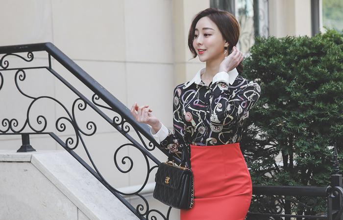 奢华裙 锁链图案 配色领子 衬衫 罩衫