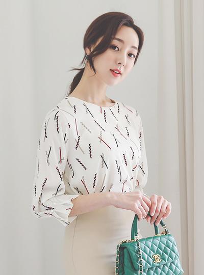 袖珍珠细褶 春季 图案 罩衫