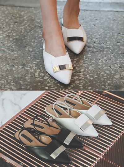 摩登 金条装饰 V字型 平底鞋 露脚后跟鞋